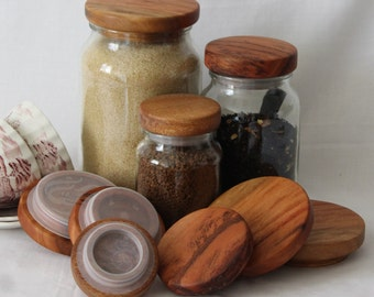 Kitchen Storage Ideas for Moccona Jar Lids, Set of 3 LgeTimber Lids