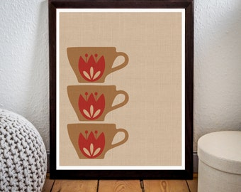 Cups Print,Scandinavian wall art,Vintage cup Print,Vintage Poster,Printable File,Home,Kitchen Decor,Wall Art,Instant Download