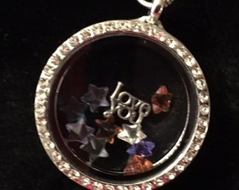 """New Silver Rhinestone Floating Charm Necklace with a 24"""" Sterling Silver Chain and free Charms"""