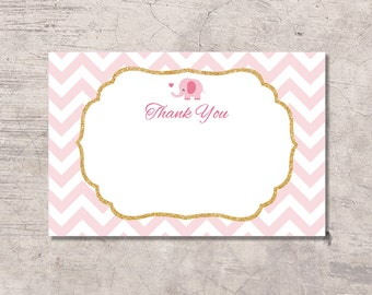 Elephant Thank You Card Printable, pink chevron, instant download digital file, pink and white, baby shower girl, thanks card, elephant pink