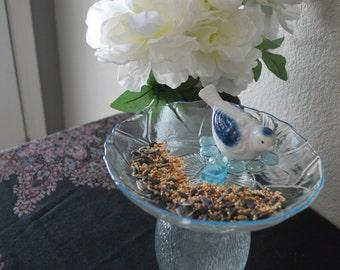 Recycled Garden Art - Glass Plate Bird Feeder with Bird Ornament