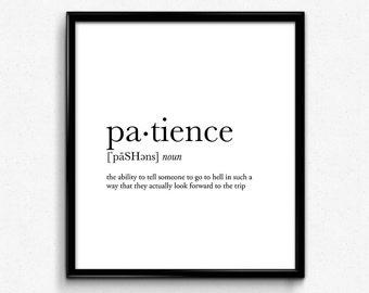 Patience definition, college dorm girl, dictionary art, minimalist poster, funny definition print, dorm decor, wedding gift, office decor