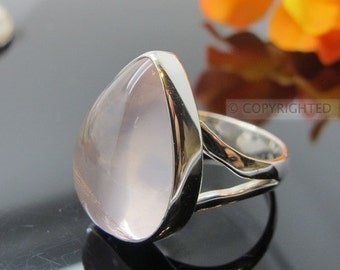Rose Quartz Ring, 925 Sterling Silver Ring, Gemstone Rings, Crystal Rings, Healing Rings