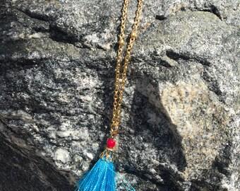 Blue Tassel Dainty Necklace