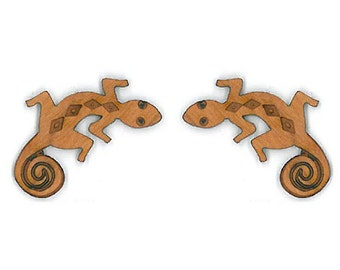 Lizard Shape Post Earrings Laser Carved Cherry Wood Jewelry.   e424p