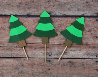 12- Pine Tree Cupcake Toppers!