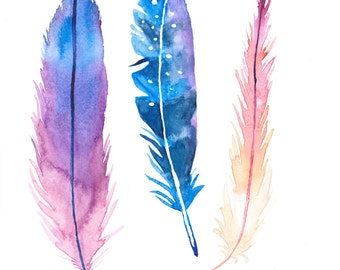 Dreamy Feathers Watercolor Art Print