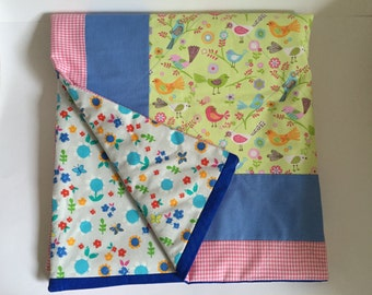Baby blanket Playmat patchwork red blue yellow kids quilt