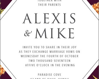 Hawaiian Tropics Wedding Invitation