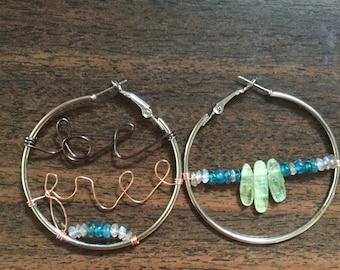 Be Free hoop earrings with Green Kyanite and Labradorite