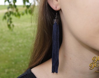 Fringe Tassel Earrings Navy/Gunmetal