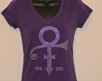 Prince Symbol Tribute Inspired Rhinestone Purple T Shirt