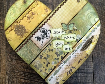 """Wooden Yellow Heart Mixed Media Wall Art """"Start where you are"""" Gifts for her, gifts for best friend, collage art"""