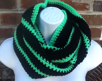 Crochet Green/Black Infinity Scarf, Scarves, Cowl