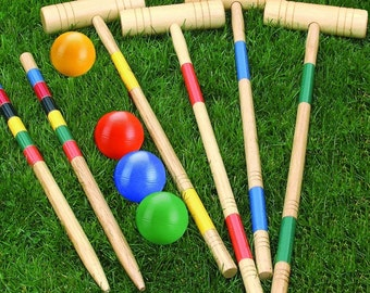 Wooden Outdoor CROQUET set with 4 Solid Rubber balls( not plastic) and 4 Wooden mallets