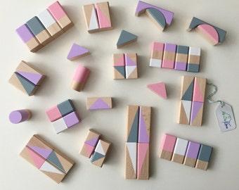 Building blocks bricks geometric pattern in pastel shades