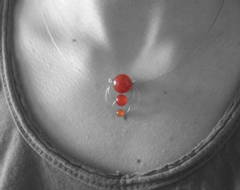 Mineral carnelian necklace. Own design.