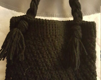 Crocheted Black hand bag