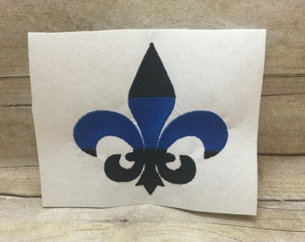 Back the Blue Fleur De Lis Embroidery Design, Blue Lives Matter Embroidery Design, Blue and Black Embroidey Design