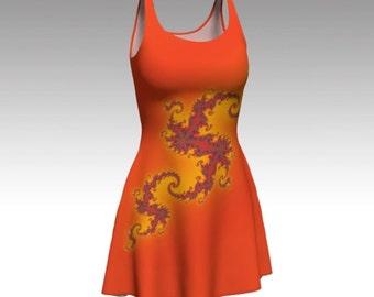 Orange Dress, Autumn Dress, Fractal Dress, Abstract Dress, Flare Dress, Skater Dress, Fit and Flare Dress, Bodycon Dress, Fitted Dress, Cute