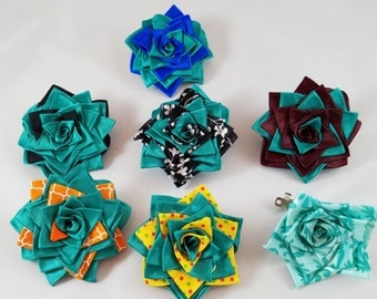 Teal Ribbon Rose Hair Clips on French Barrettes