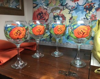 One of a kind made to order choice of color or pattern glasses and table runner