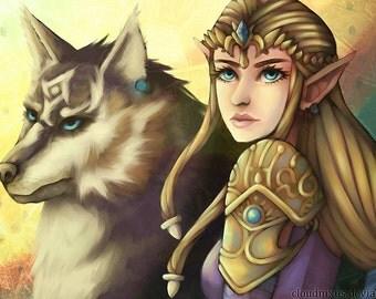Zelda & Wolf Link Print