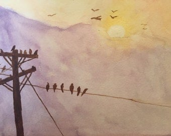 Birds on a Wire - Original watercolour painting