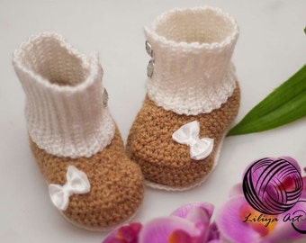 "Booties ""Tenderness"",Baby Booties, Baby Loafers, Baby Loafer Booties, Crochet baby booties, Crochet baby loafers"
