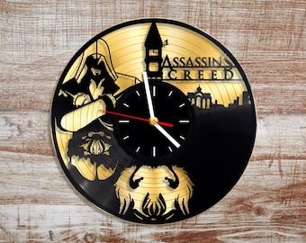 Assassins creed vinyl record wall clock. Gold vinyl record