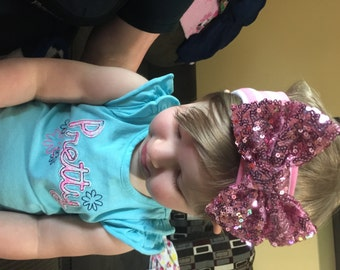 Sequin hair bow for baby or toddler