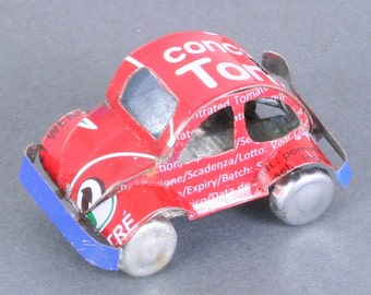 Miniature recycled (tin can) VW Bug - handmade in Madagascar