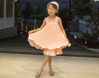 Pearl Pleated Babydoll Dress (Pink)