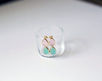 Ice Pink Glass Teardrop and Mint Pendant Earring