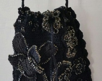 Blach Beaded Shoulder Bag. 3D Design