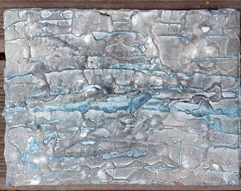 Canvas structure 24.5 x 18.5 black white blue 3 D spatula picture abstract acrylic stone rock rock face