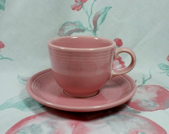 Fiestaware Rose Cup and Saucer, retired color in excellent condition