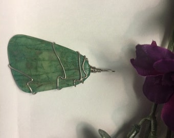 Wire Wrapped Natural Green Stone Pendant