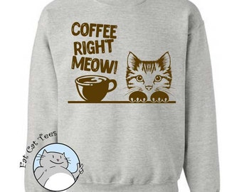 Coffee Right Meow Sweatshirt Funny Cat Sweater Funny Coffee Gifts Puns Mens Sweater Womens Cat Sweatshirt Gifts For Coffee Lovers