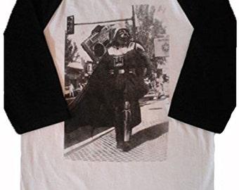 StarWars Darth Vader With BeatBox Men's Baseball 3/4 Sleeve Tee New