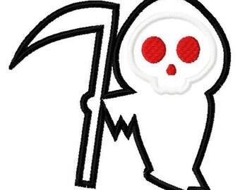 grim reaper embroidery design, reaper applique design, halloween embroidery design, halloween applique design, scary design