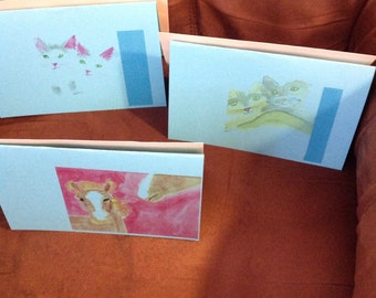 3blank greeting cards in color with envelopes