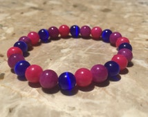 8mm Bisexual Pride Bead Bracelet