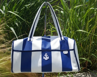 Blue and white striped Duffle Bag