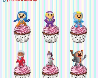 24 x Go Jetters Stand-Up Pre-Cut Wafer Paper Cupcake Toppers