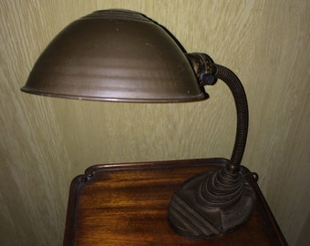 Vintage Industrial Art Deco Metal Desk Lamp with Bulb