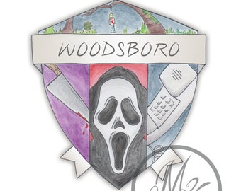 Scream Movie Woodsboro Crest Watercolor Print