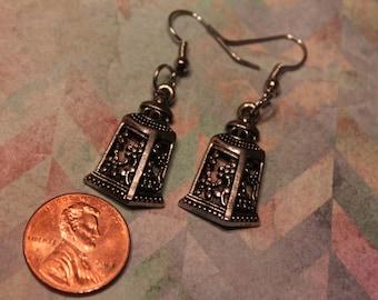 Nickel free iron fishhooks earrings, lantern charms