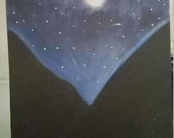 "Acrylic Painting ""Mountain Sky"""