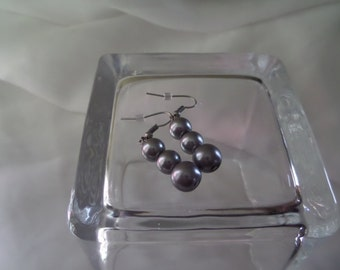 Blue/Gray Glass Pearl Earrings